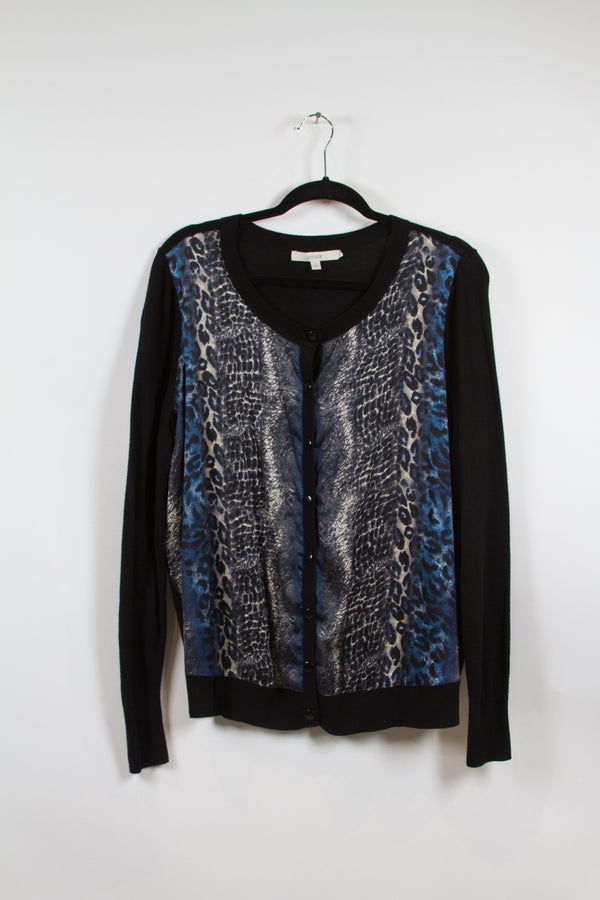 Sejour Plus Size Animal Print Black Cardigan Size 0X-1