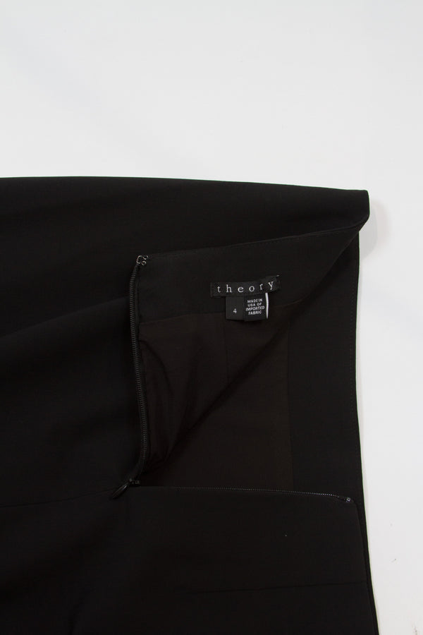 Theory Black Pencil Skirt Size 4-2