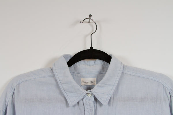 Community Light Blue Button Up Medium-2
