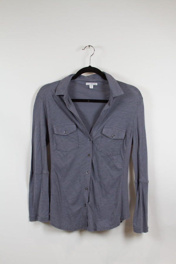 James Perse Slate Blue Button Up Size 2-1