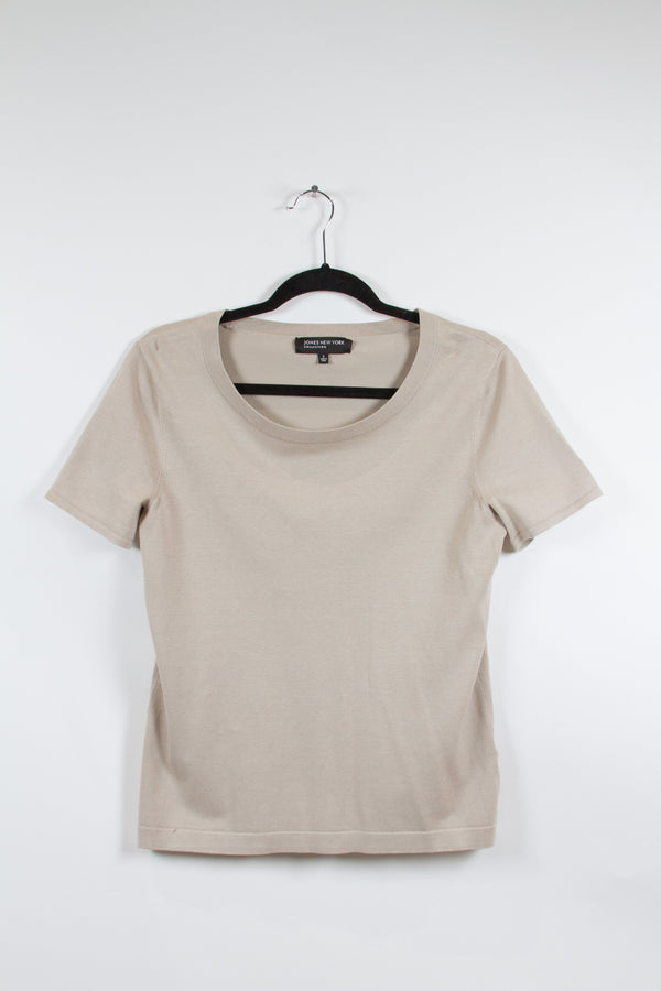 Jones New York Grey T-Shirt Blouse Small-1