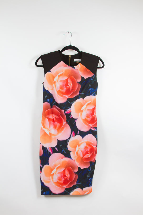 Calvin Klein Floral Bodycon Dress Size 2-1