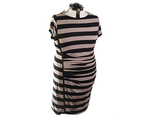 EMPIRE: Becky's Tan & Black Striped Dress-1