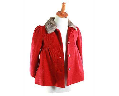 Lola's Red Peacoat with Faux Fur