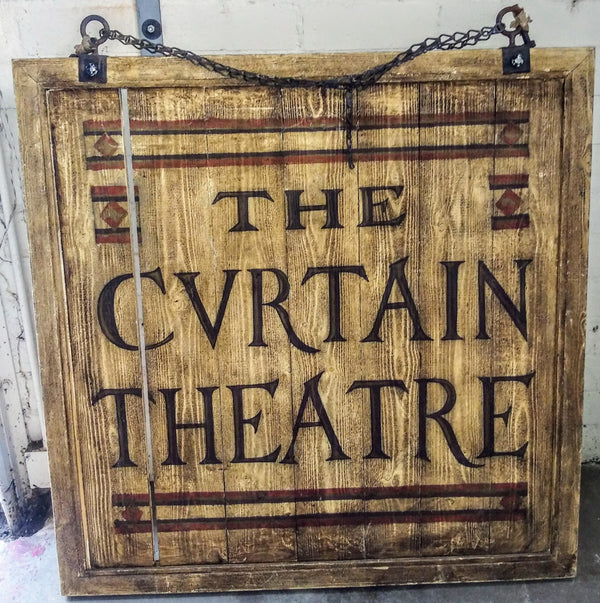 Shakespeare In Love: The Cvrtain Theatre Wood Sign-1