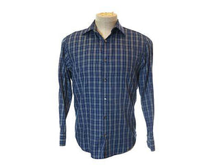 Screenbid Media Company, LLC. - Dr. Ken's Dark Blue Plaid Dress Shirt