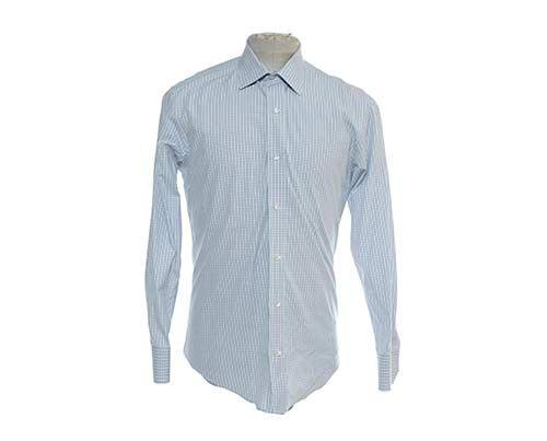 Pat's Blue & Grey Check Dress Shirt