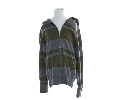 Dr. Ken: Dave's Olive & Grey Striped Hoodie-1