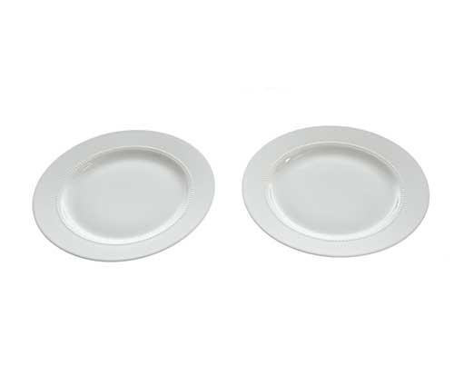 Dr. Ken White Porcelain Plates with Beaded Inner Rim (Set of 2)
