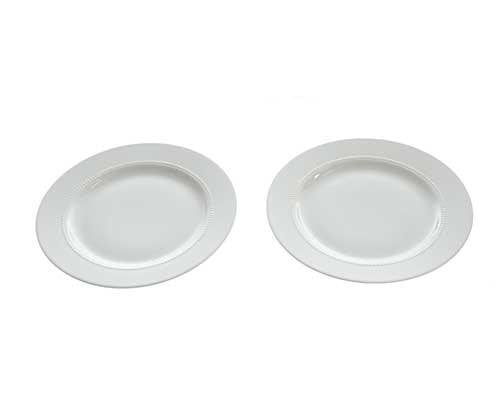 Dr. Ken: Dr. Ken White Porcelain Plates with Beaded Inner Rim (Set of 2)-1