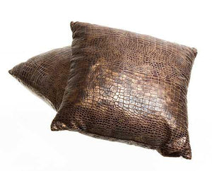 Screenbid Media Company, LLC. - Justified Tan Faux Alligator-Skin Pillows