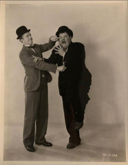 Laurel & Hardy Black and White Glossy Photo, Portrait (L Poking H in the Eye)