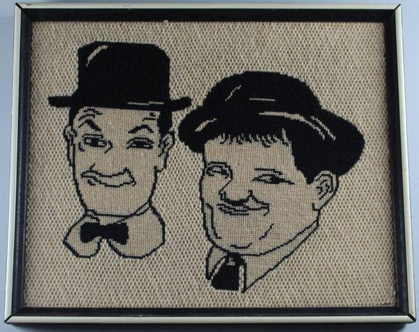Laurel & Hardy Crochet Picture in Frame-1