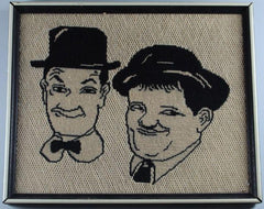 Laurel & Hardy Crochet Picture in Frame