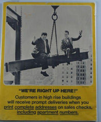 "Laurel & Hardy Ad With Laurel & Hardy (Being Hauled up on Steel Beam) ""We'Re Right up Here"""