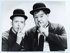 "Laurel & Hardy Black and White Glossy Photo, Portrait ""Quiet"""