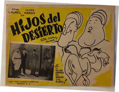 "Laurel & Hardy Movie Poster Yellow ""Hijos Del Desierto"" (Spanish) Beau Hunks (1931)"