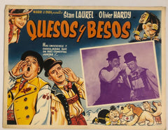 "Laurel & Hardy Movie Poster ""Quesos Y Besos"" (Spanish) Swiss Miss (1938)"