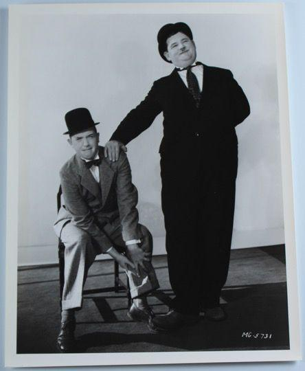 Laurel & Hardy Black and White Glossy Photo, Portrait (Hardy Leaning on Laurel's Shoulder, Stepping on Foot)-1