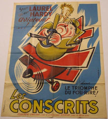 Laurel & Hardy French Poster Conscrits Flying Deuces (193()