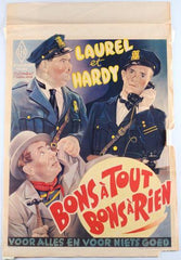 Laurel & Hardy Movie Poster Bons a Tout Bon Sa Rien on Very Fragile Paper (French) the Midnight Patrol (1933)