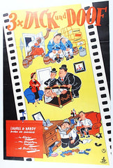 Laurel & Hardy Beau Hunks, Going Bye Bye, Helpmates 3X Dick Und Doof Movie Poster Yellow, Branchen Alle Lach Rekorde