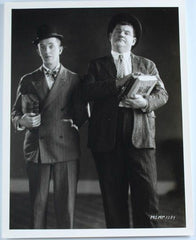 Laurel & Hardy Black and White Glossy Photo, Portrait (Laurel & Hardy Standing and Holding Books)