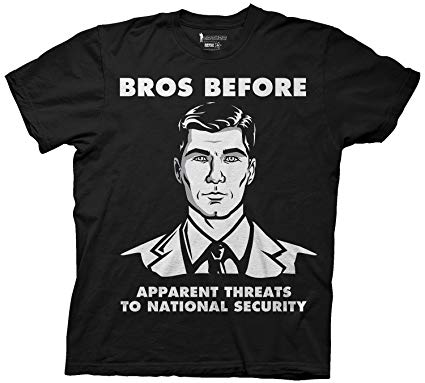 "Archer ""Bros Before National Security Threats"" Men's T-Shirt Large-1"