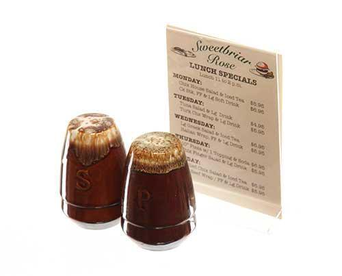 Under The Dome: Sweetbriar Rose Diner Table Menu with Brown Salt & Pepper Shakers-1