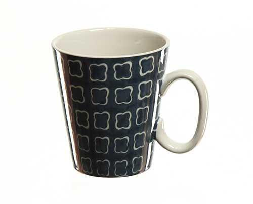 Julia's Blue Coffee Mug with Flower Pattern