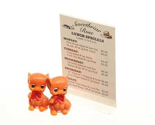 Sweetbriar Rose Diner Table Menu with Bear Salt & Pepper Shakers