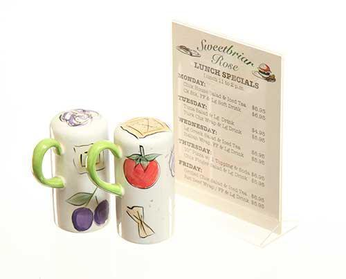 Under The Dome: Sweetbriar Rose Diner Table Menu with Vegetable Salt & Pepper Shakers-1