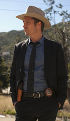Raylan Givens' Dusty Blue Designer Button Down