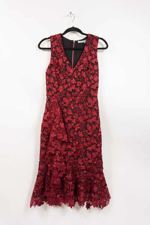 Screenbid Media Company, LLC. - Alice + Olivia Bordeaux Applique Faux Wrap Dress Size 2