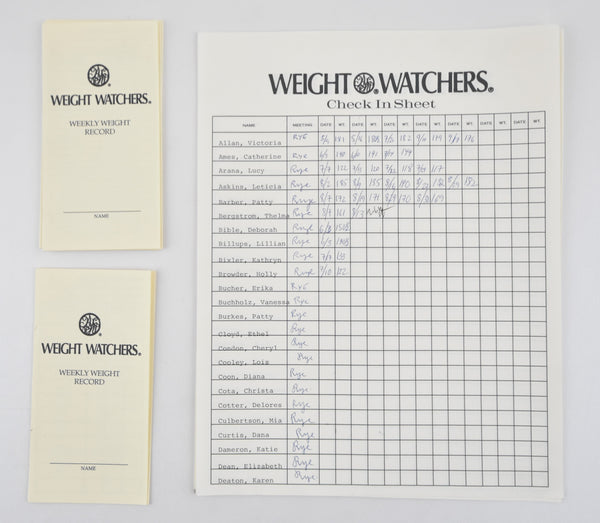 Mad Men: Weight Watchers Check In Sheet + Weekly Weight Records-1