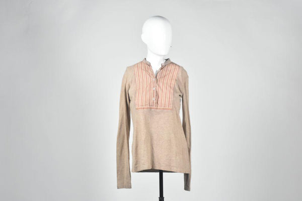 Gangs Of New York: Jenny's Beige Henley with Stripes-1