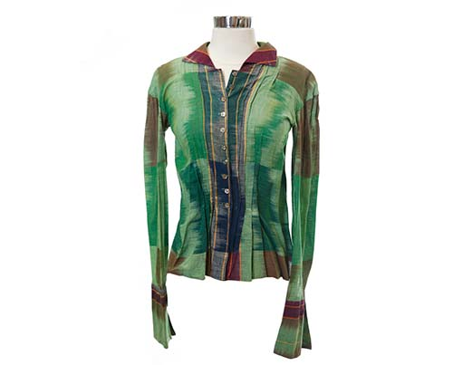 Jenny's Green and Brown Brushed Blouse-2