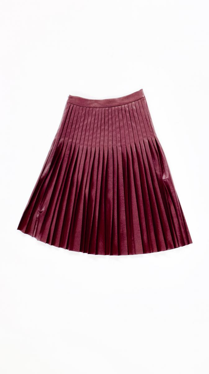 VEEP: Rebecca Taylor Burgundy Faux Leather Pleated Skirt