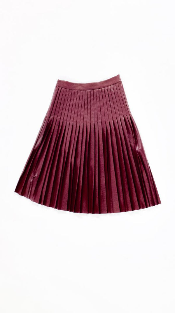 VEEP: Rebecca Taylor Burgundy Faux Leather Pleated Skirt-1