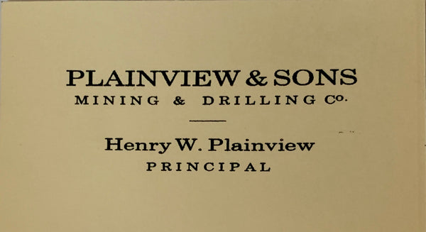 "There Will Be Blood: Daniel's ""Plainview & Sons"" Business Card-2"