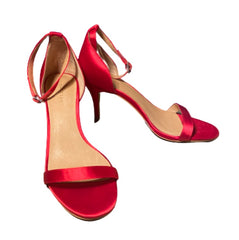SILICON VALLEY: Monica's Red Satin Halogen Heels