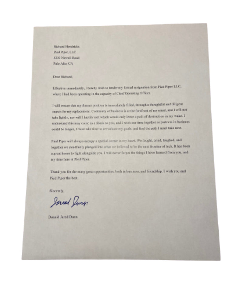 SILICON VALLEY: Jared's Signed Letter of Resignation from Pied Piper