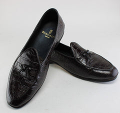 THE GENTLEMEN: Dry Eye's Brown Crocodile Skin Loafers