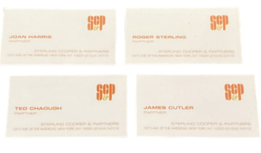 MAD MEN: STERLING COOPER & PARTNERS Team Business Cards