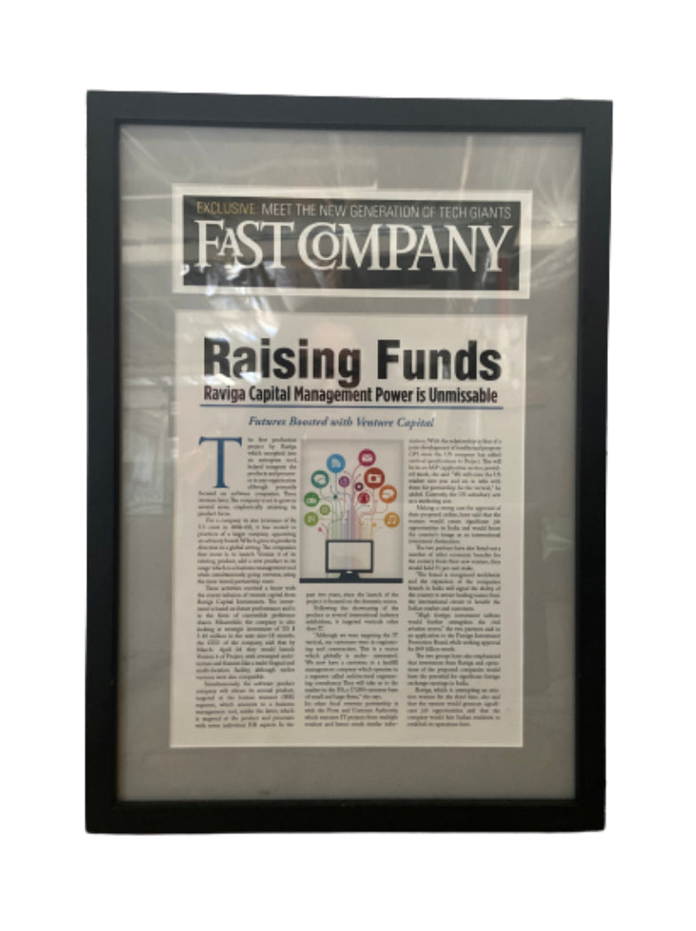 SILICON VALLEY: Raviga's Fast Company Framed Article