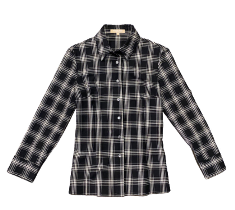 SILICON VALLEY: Monica's Black & White Plaid Michael Kors Button Down