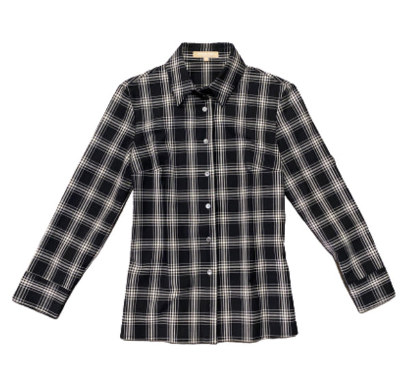 SILICON VALLEY: Monica's Black & White Plaid Michael Kors Button Down-1