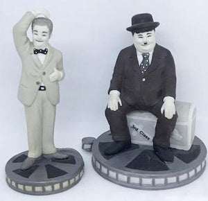 Screenbid Media Company, LLC. - Laurel & Hardy Black and White Porceline Figures on Film cans by Larry Harmon Pictures circ 2000