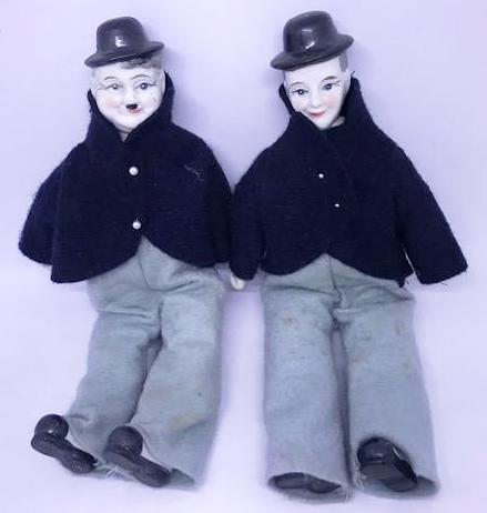 "Laurel & Hardy Home made Porceline and Felt dolls (10 1/2"" tall)-1"