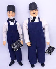 "Laurel & Hardy Peggy Nisbit Costume Dolls (fair condition, hat brims broken 7 1/2"")"